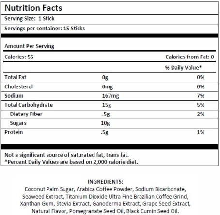 rainfused latte coffee nutrition facts