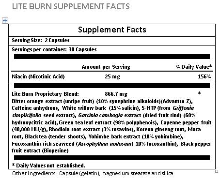 liteburn fat burn supplement facts